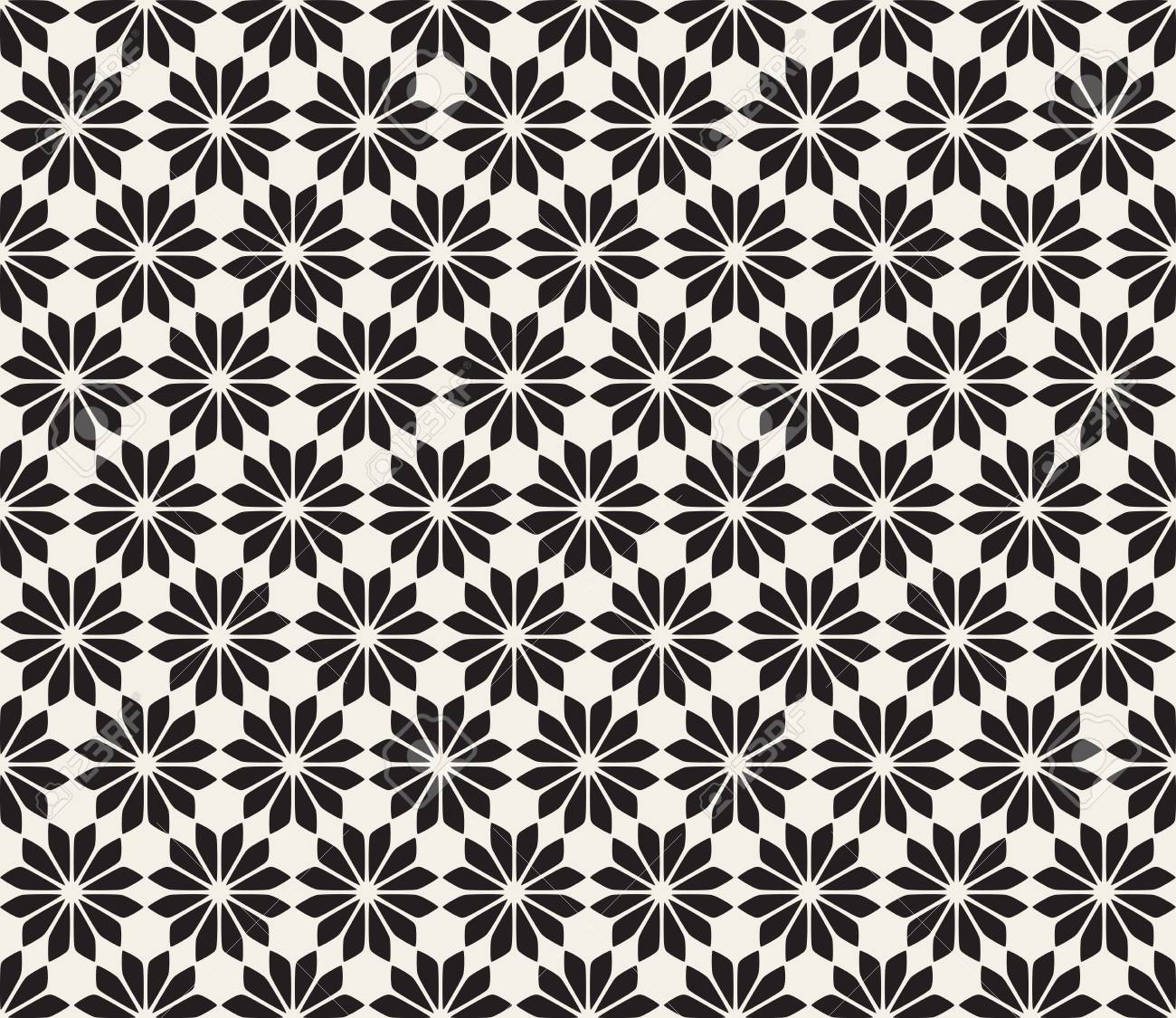 Vector Seamless Black And White Floral Pattern Abstract Geometric