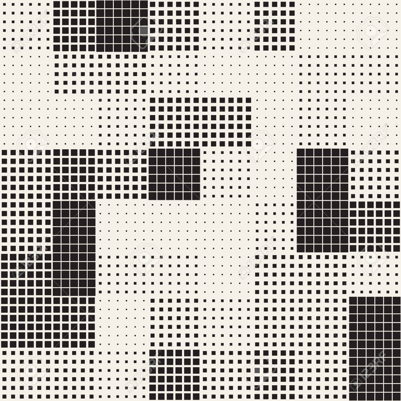 Modern Stylish Halftone Texture. Endless Abstract Background With Random Size Squares. Vector Seamless Chaotic Squares Mosaic Pattern - 91376761