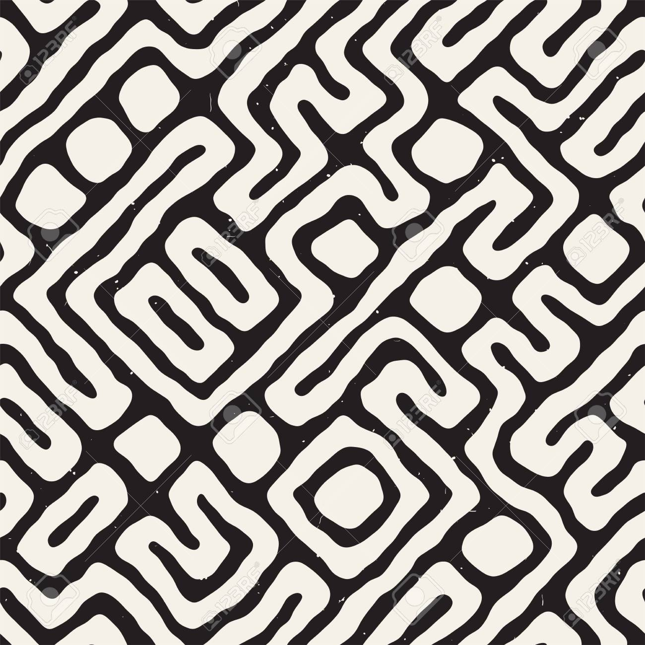 Maze lines seamless pattern abstract grungy background vector hand drawn labyrinth. - 95089551