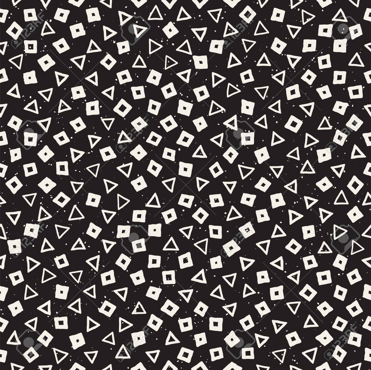 Hand Drawn Black And White Ink Abstract Seamless Pattern Vector