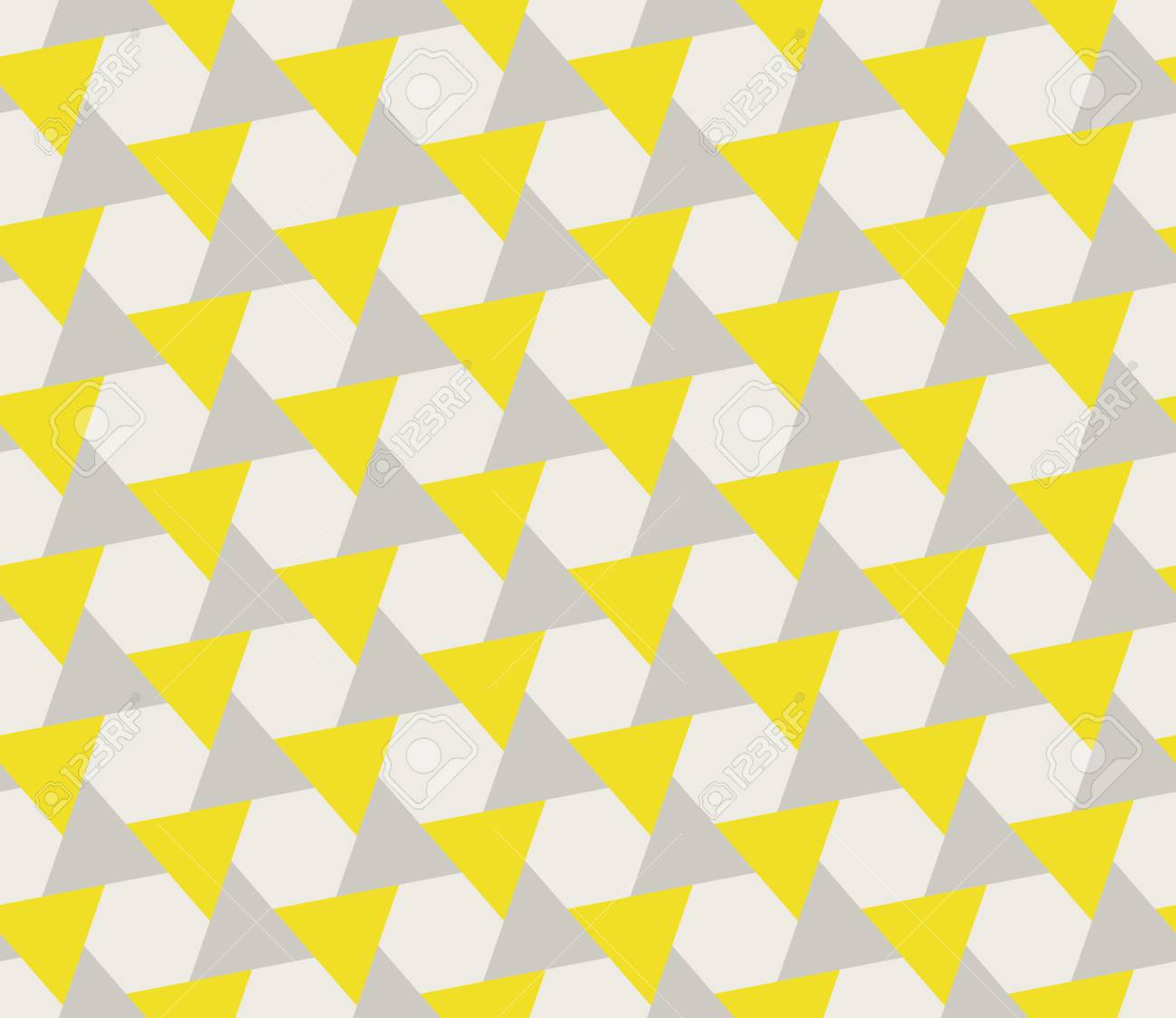 Vector Seamless Grey Yellow Geometric Triangle Shape Tessellation