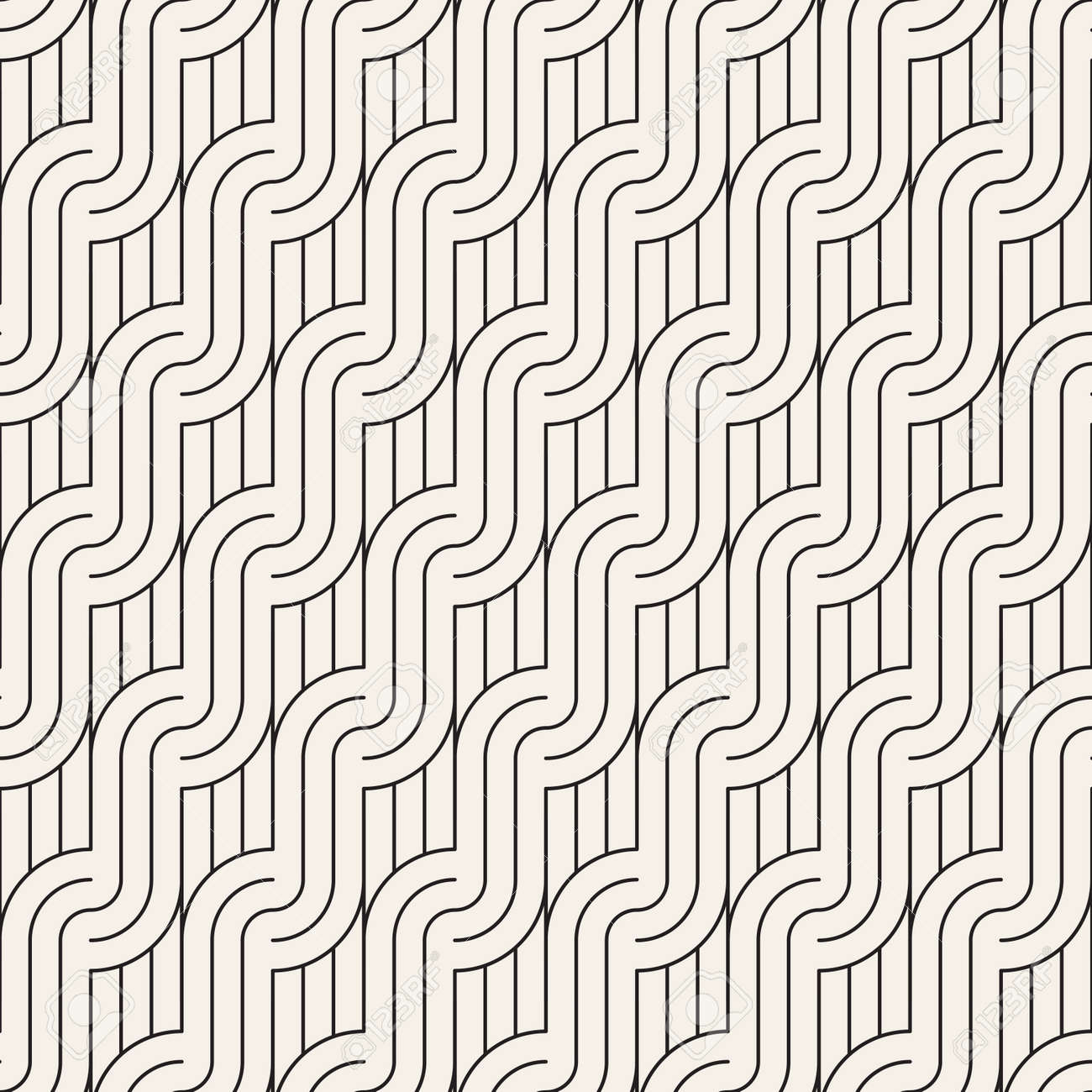 Vector seamless pattern. Modern stylish abstract texture. Repeating geometric tiles from striped elements - 167498829