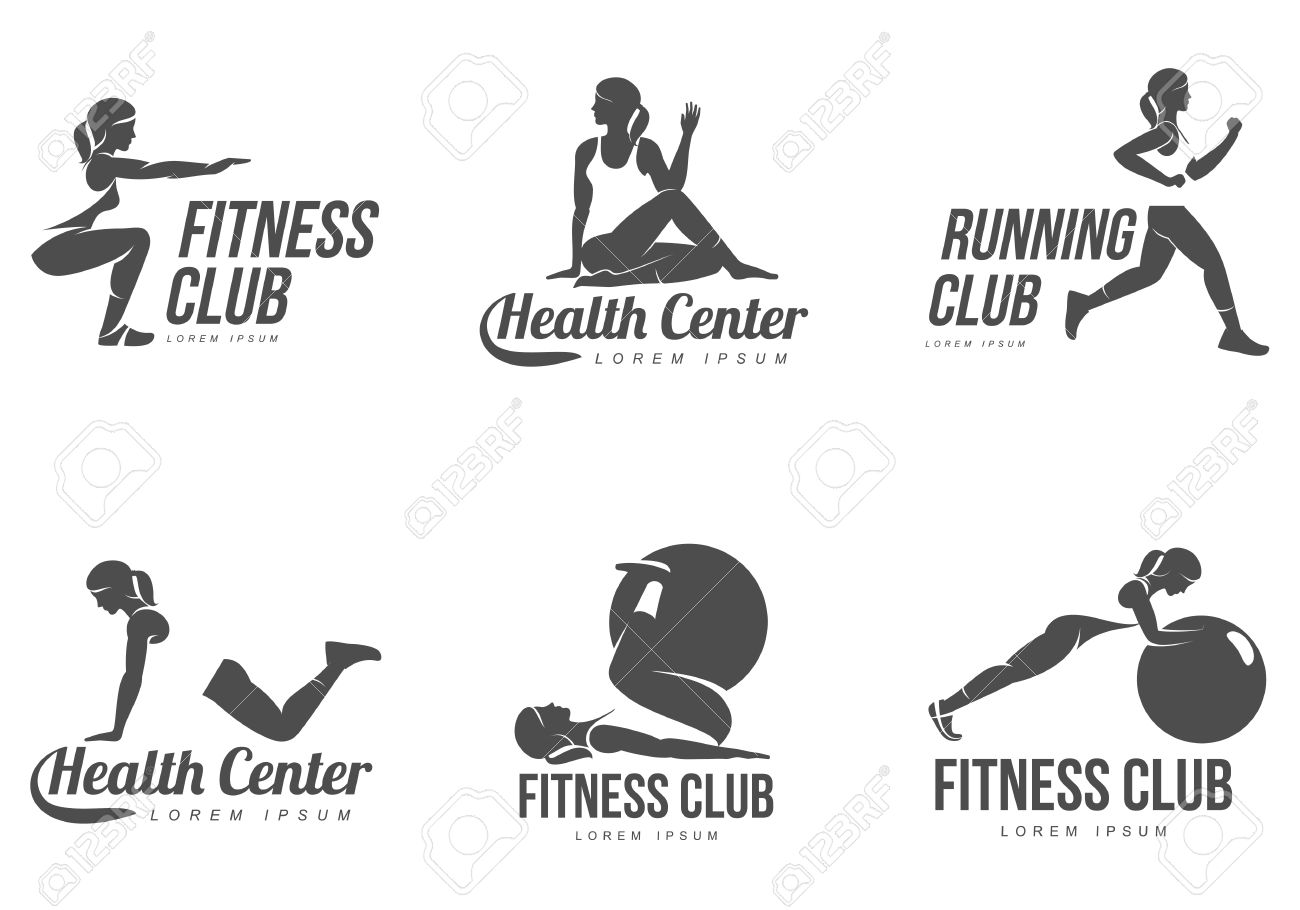 Workout Logo Fitness Aerobic And Exercise In Gym Vector