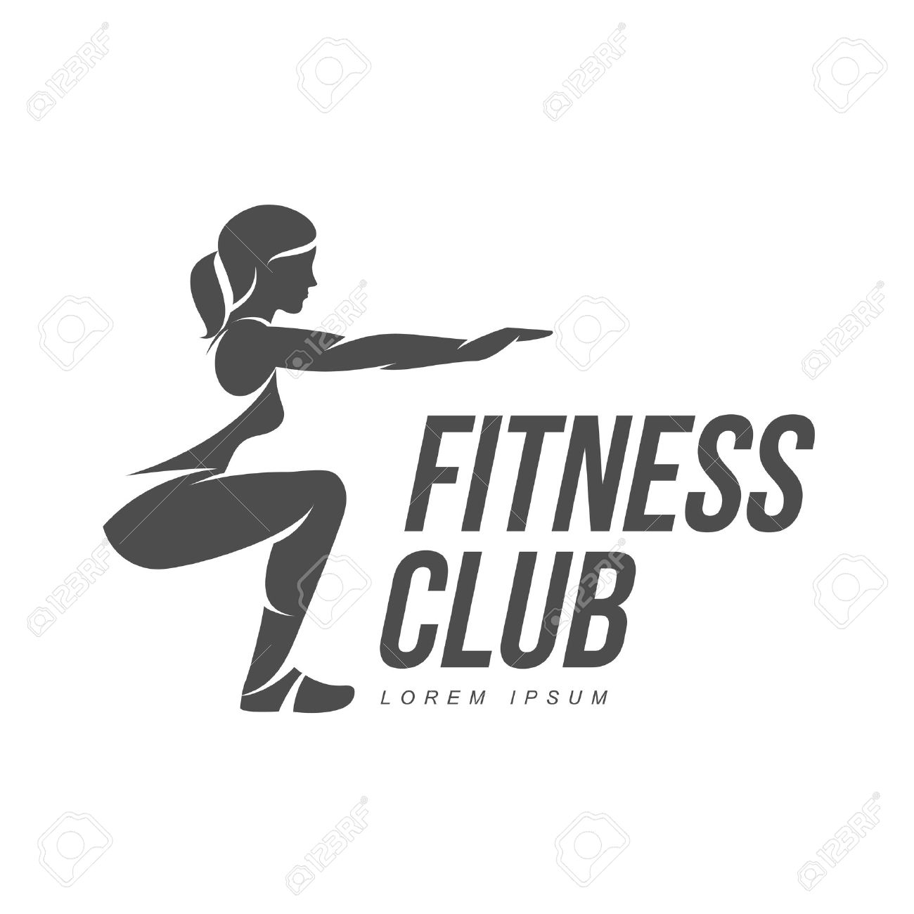 Workout logo. Fitness, Aerobic and workout exercise in gym. Vector set of workout logo isolated on white background. Fitness equipment - ball. - 60203374