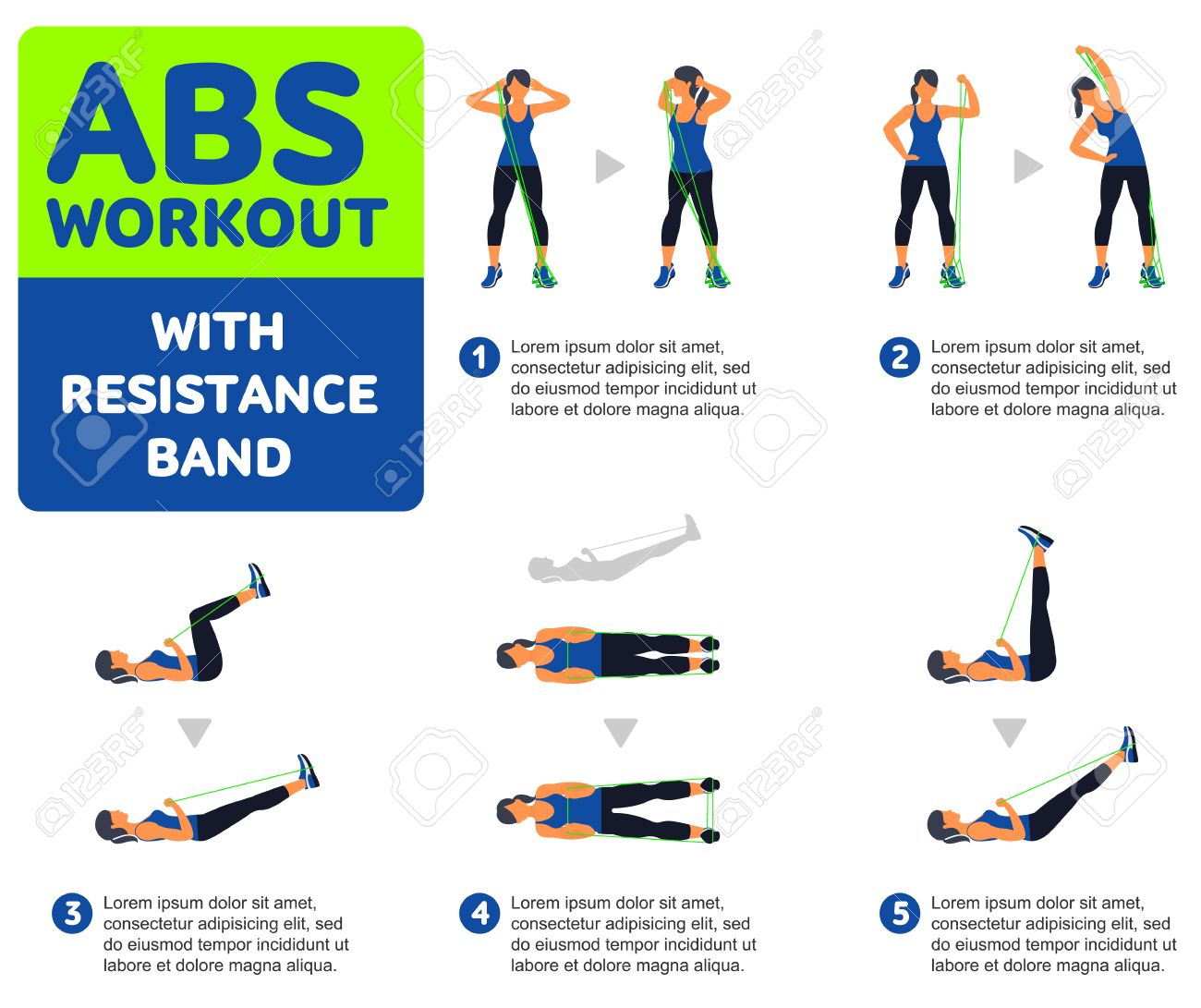 Abs Workout With Resistance Band Fitness Aerobic And Workout