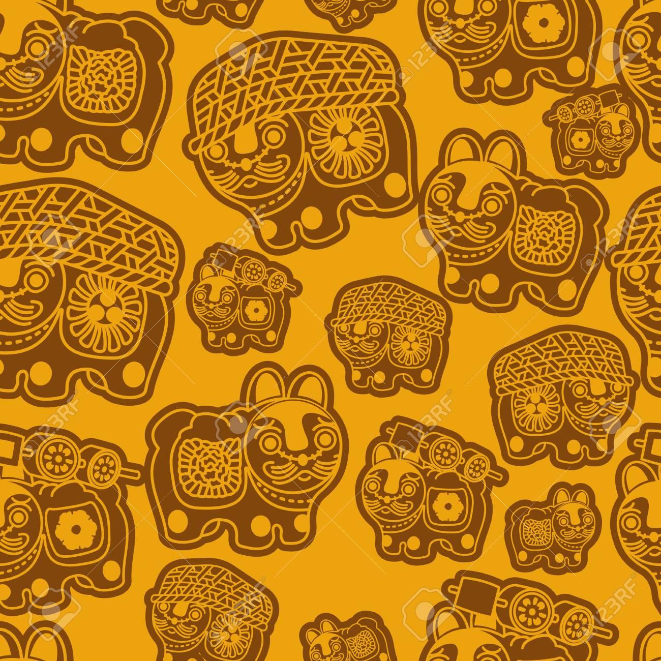 Jouet Pour Chien Japonais Motif De Texture Transparente. Seamless