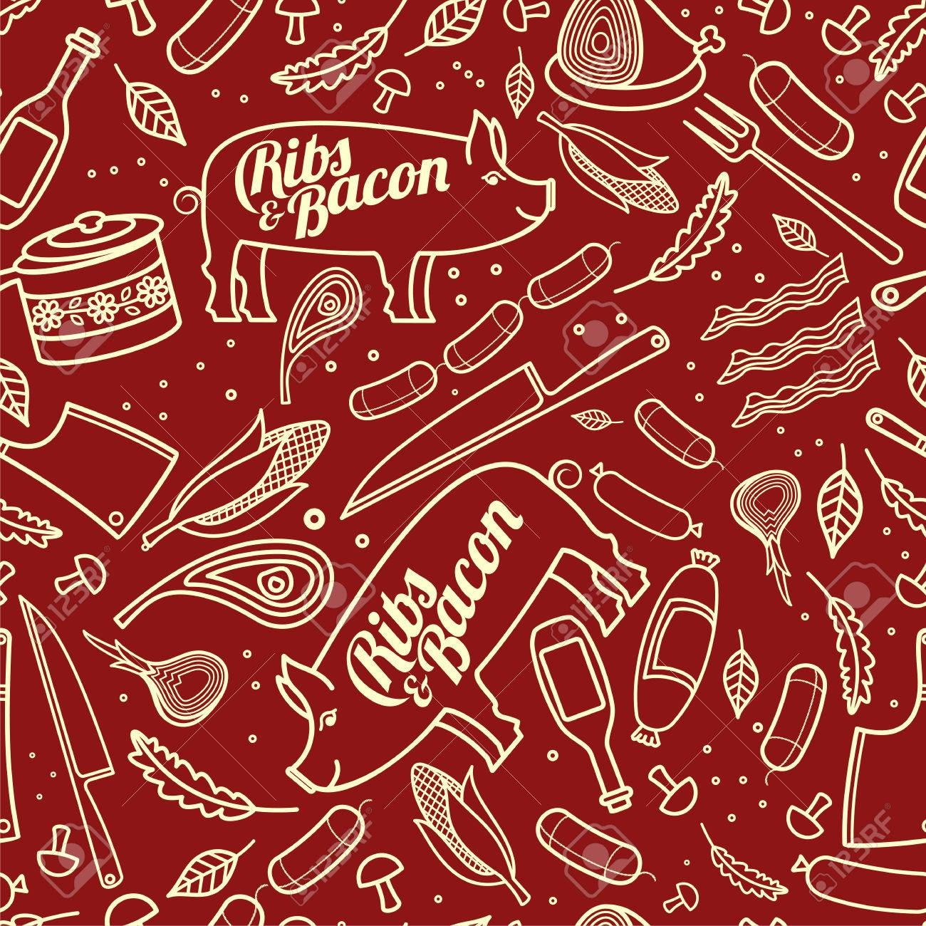 Porc Ribs Bacon Vector Seamless Texture Pattern Can Be Used