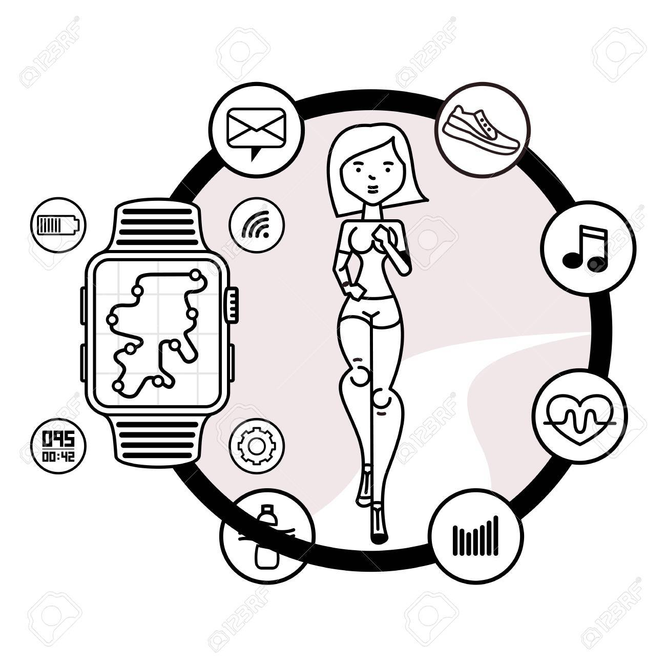 Vector icons running girl and smart watch with watch app in cartoon