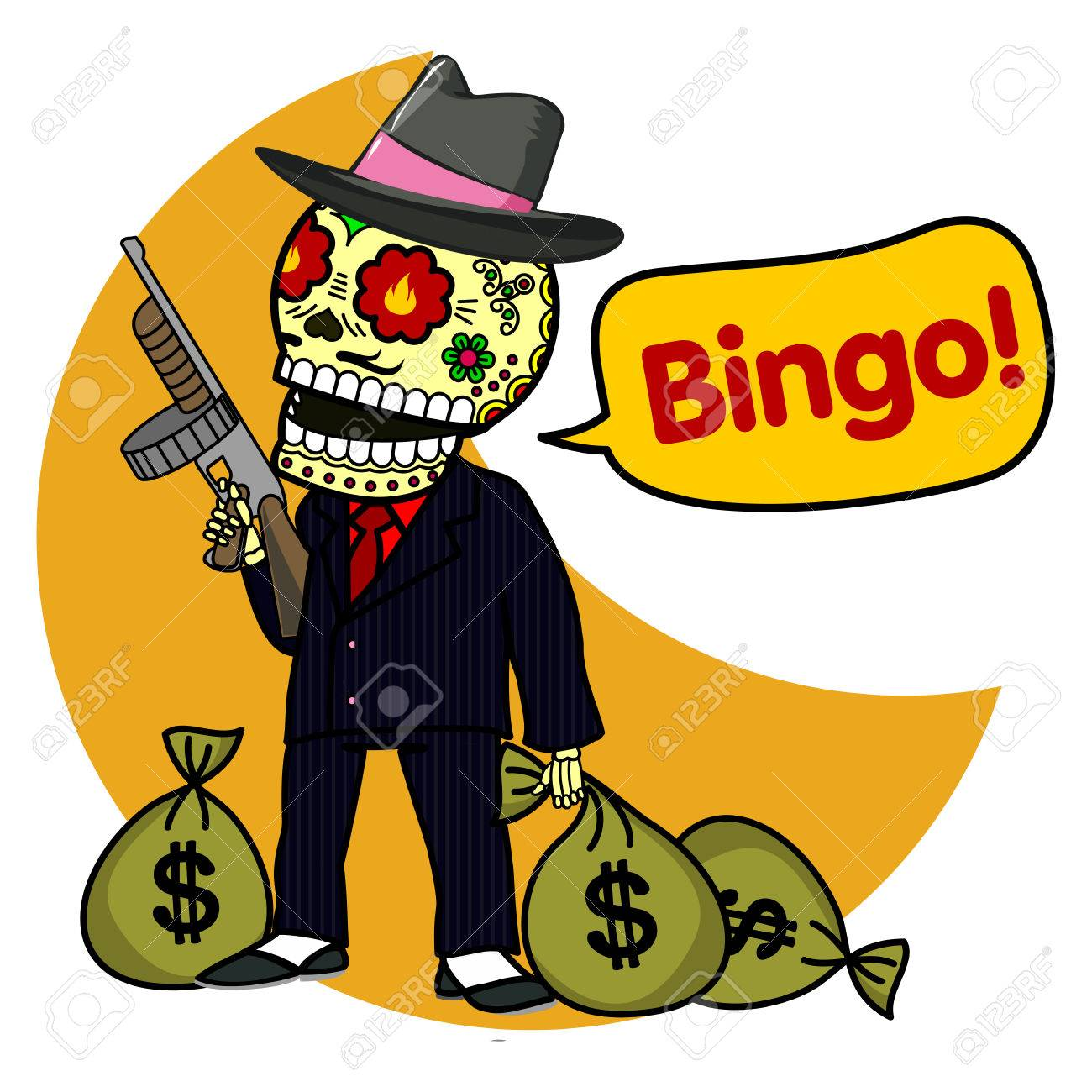 Vector Flat And Linear Illustration Of Skeleton Gangster With Tommy Gun Bags Money