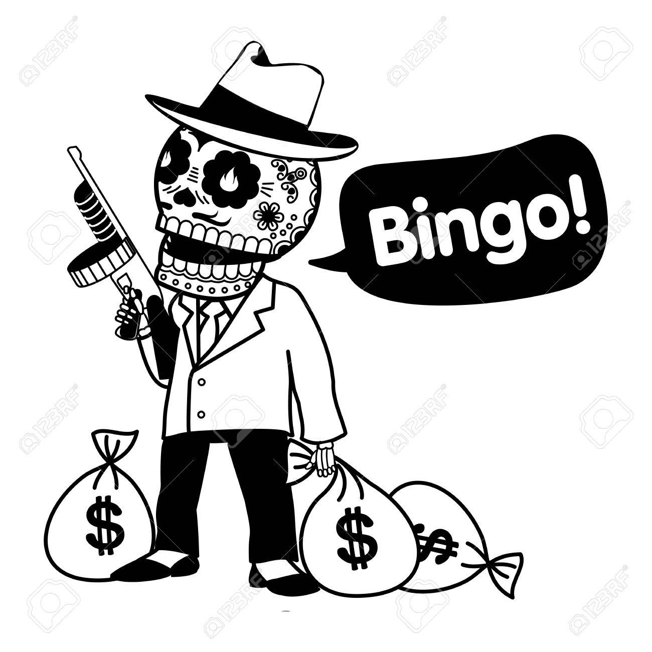 Gangster With Tommy Gun And Bags Of Money Web Banners Advertisements Brochures Business Templates Isolated On A White Background