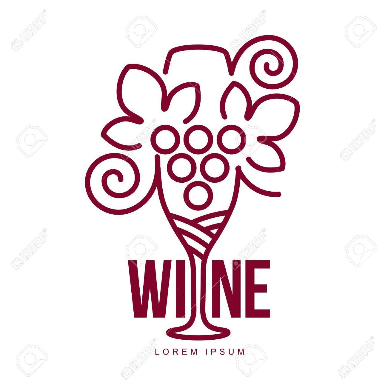 Weinlogo-Vorlagen. Flasche, Glas, Weintraube. Vintage-Stil Wein ...
