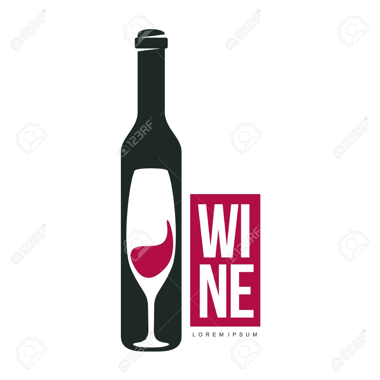 Wine Logo Templates. Bottle, Glass, Bunch Of Grapes. Vintage ...