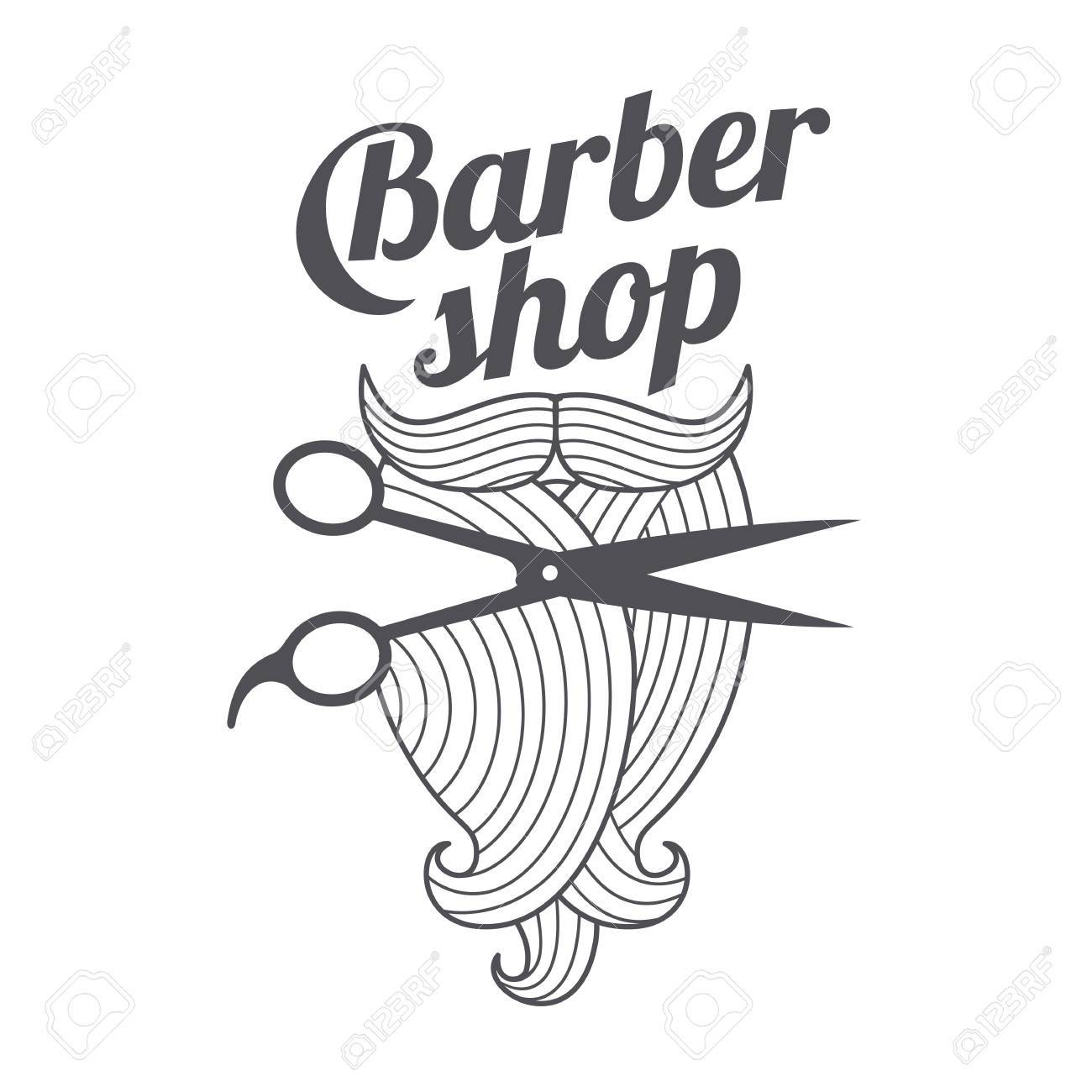 432f2665b83 Barber shop logo templates. Hair, beard, razor, scissors, comb. Vintage