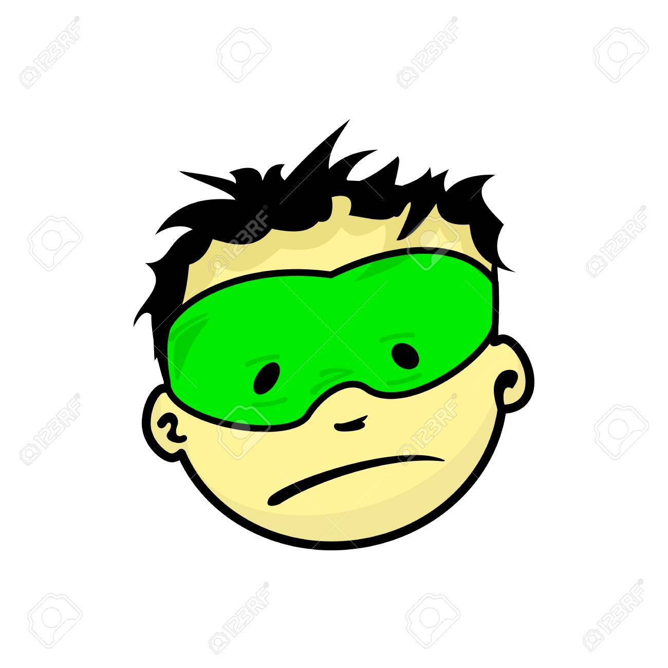 Jeune Expression Du Visage Super Homme Masqué Vecteur De Dessin Animé Illustrations Isolé Sur Fond Blanc Beau Visage Icônes Garçon Emoji