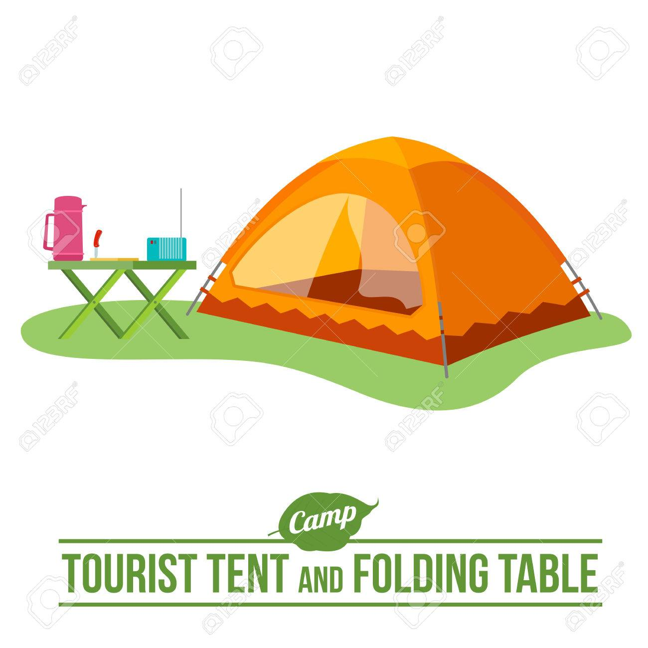 C&ing with tourist tent and folding table outdoor vector flat icon. Web graphics banners  sc 1 st  123RF.com & Camping With Tourist Tent And Folding Table Outdoor Vector Flat ...