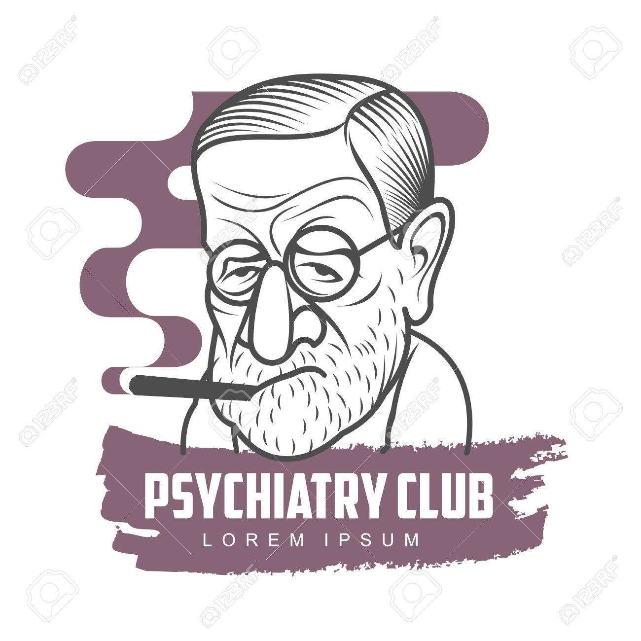 Vektor Cartoon Karikatur Porträt Von Sigmund Freud. Vector Vorlage ...