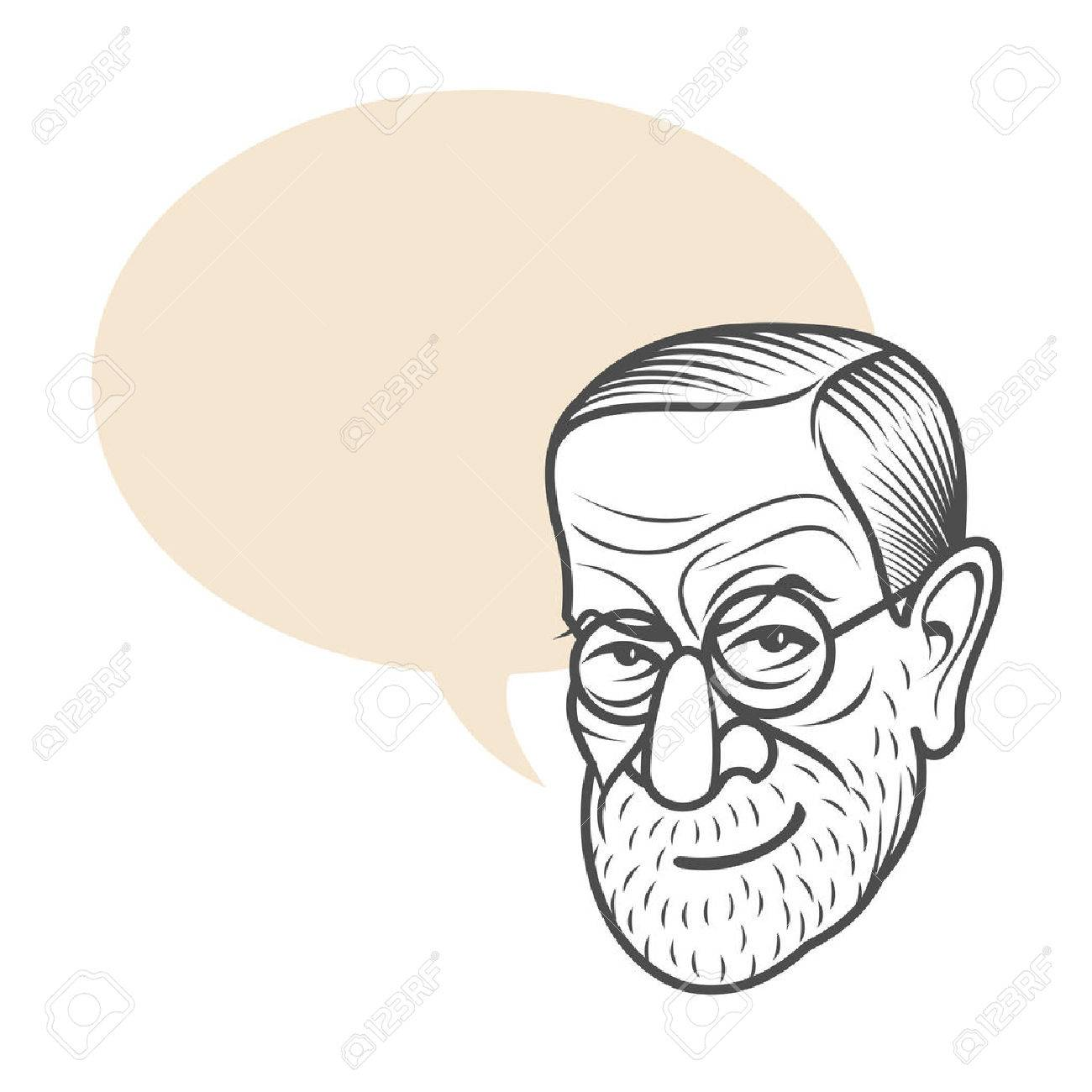 Vector Cartoon Caricature Portrait Of Sigmund Freud. Vector Template ...