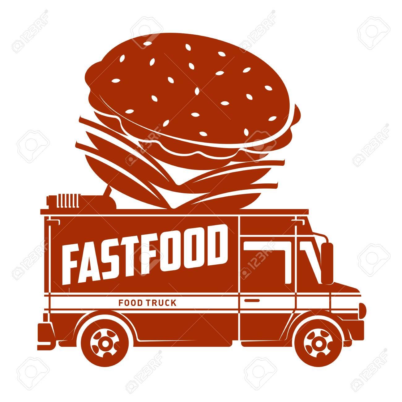 Food Truck Hamburger Logo Vector Illustration Vintage Style Labels Design Concept For Delivery Service