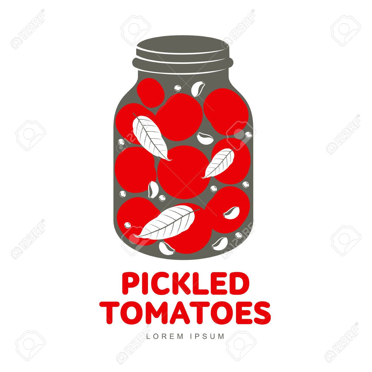 81897011 pickled tomatoes glass jar logo for your design home canning tomatoes marinade black peppercorn bay