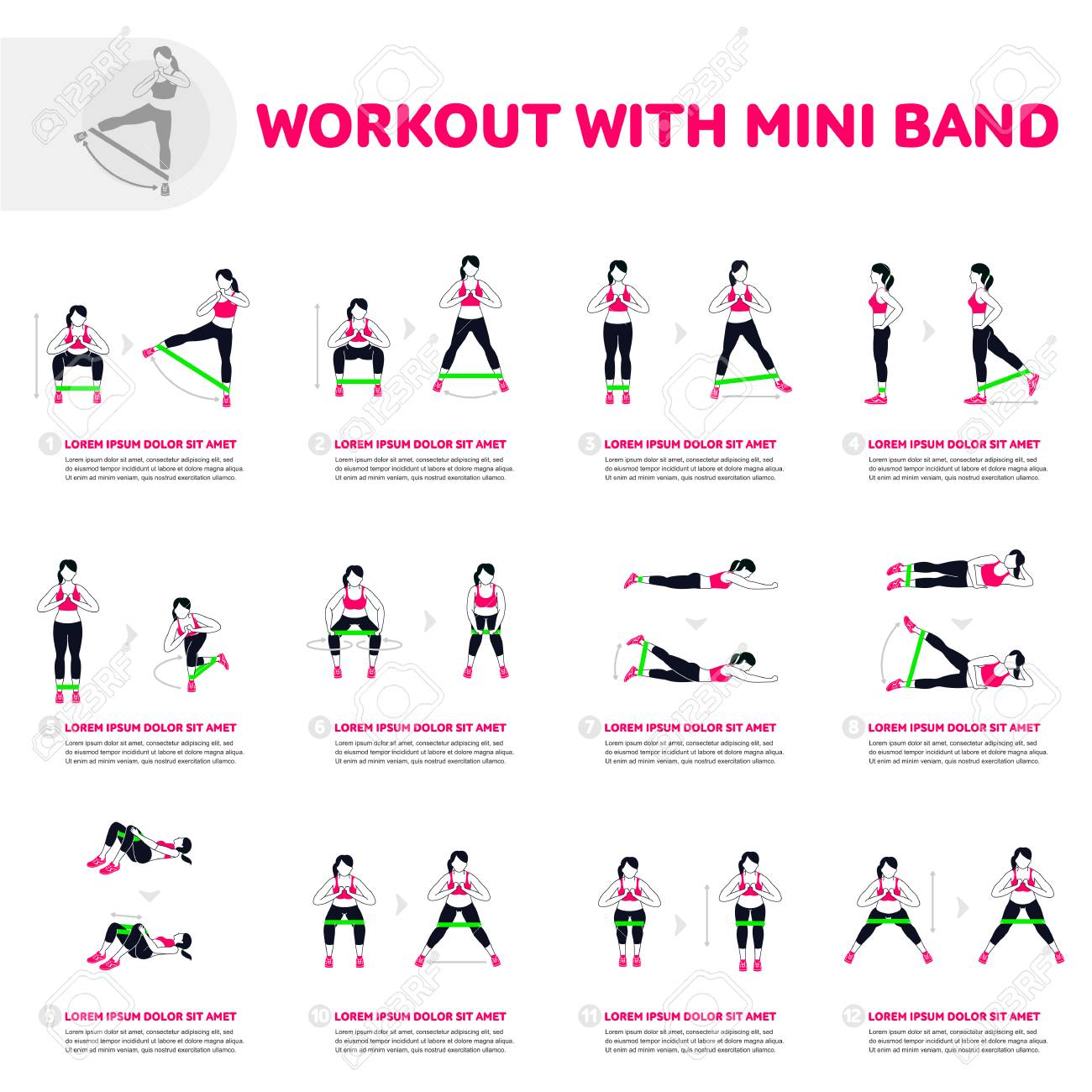 Workout with mini band. Fitness, Aerobic and workout exercise in gym. Vector set of gym icons in flat style isolated on white background. People in gym. Gym equipment. - 88965457
