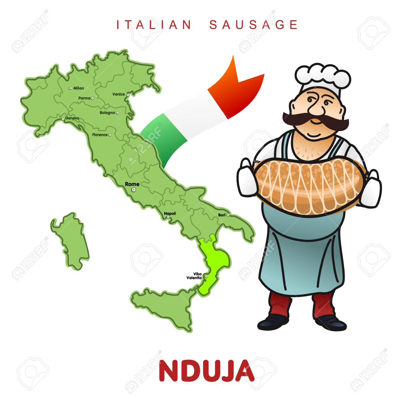 chef with italian sausage and italian map vector ilration delicatessen pig meat raw and