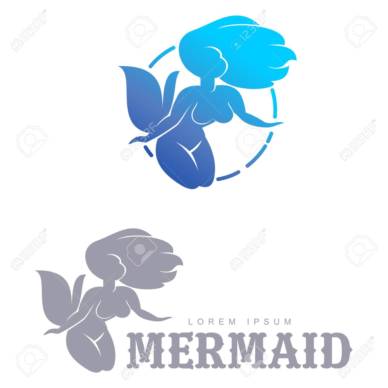 Blue And Gray Graphic Mermaid Icon Templates. Two Colors Graphic ...