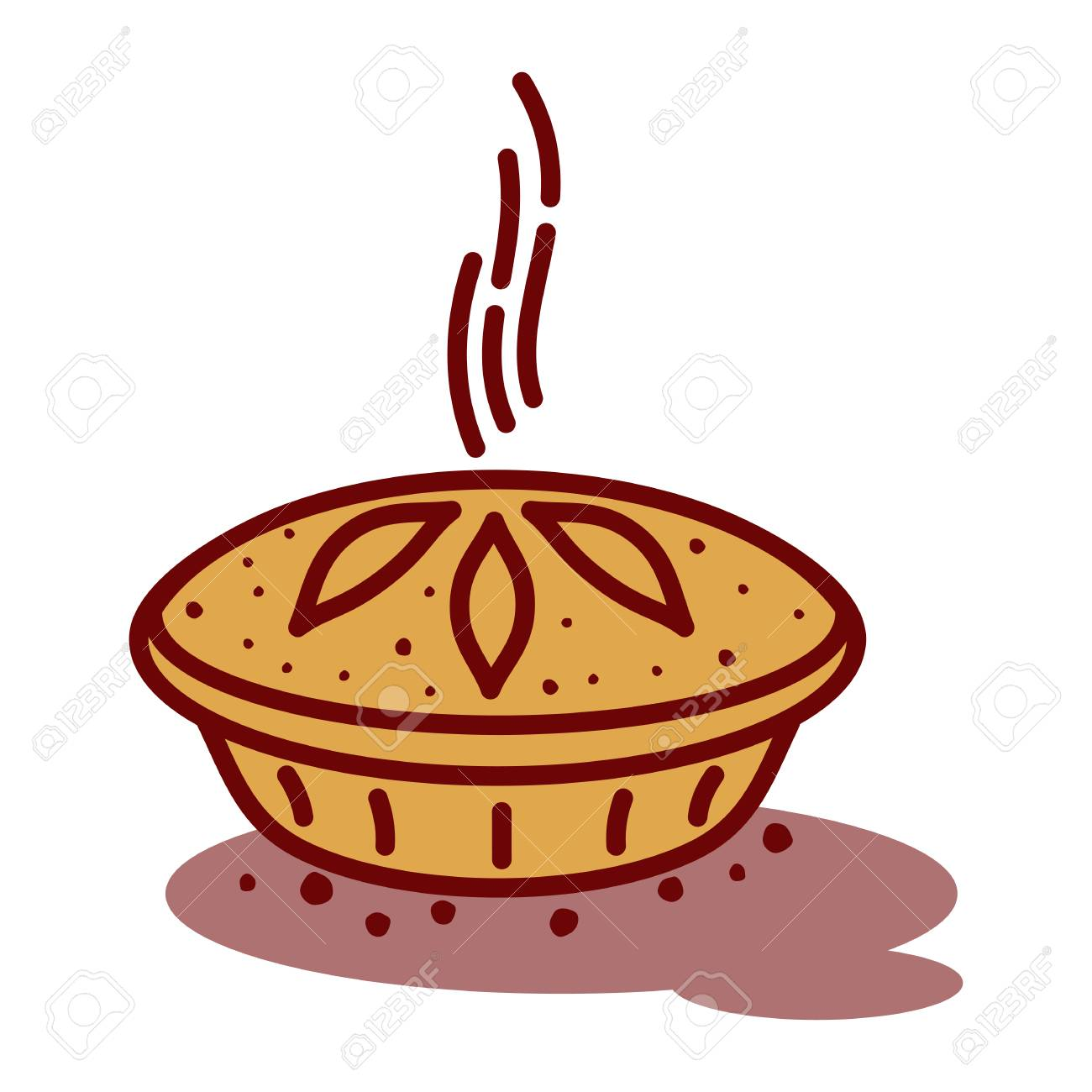 Meat Pie, Roll, Quiche Vector Line Two Color Illustration. Hot,.. Royalty  Free Cliparts, Vectors, And Stock Illustration. Image 94757458.