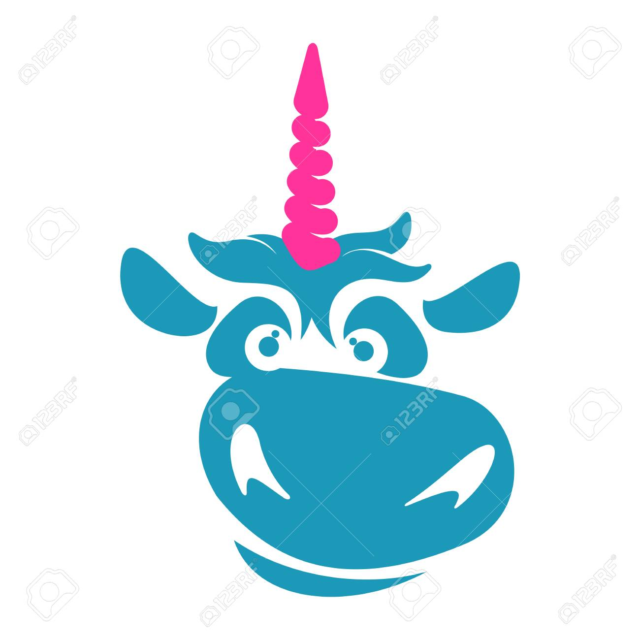 funny unicorn face graphic logo template full color catroon