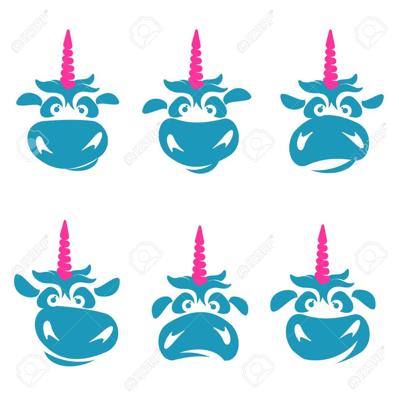 funny unicorn face graphic template full color cartoon unicorn