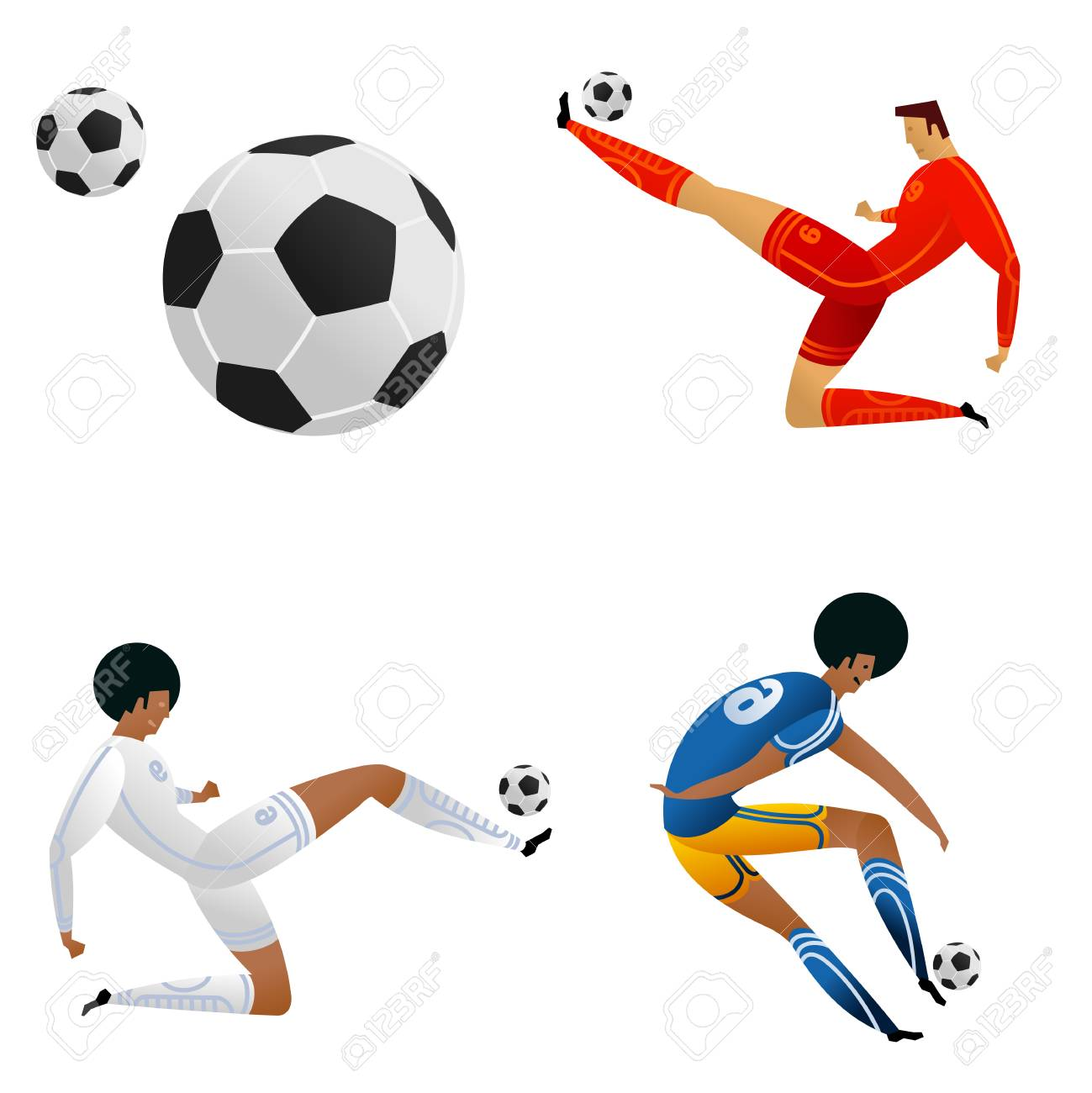 Soccer player on gray official background. Football player in Russia. Full color vector illustration in flat style. - 101001280