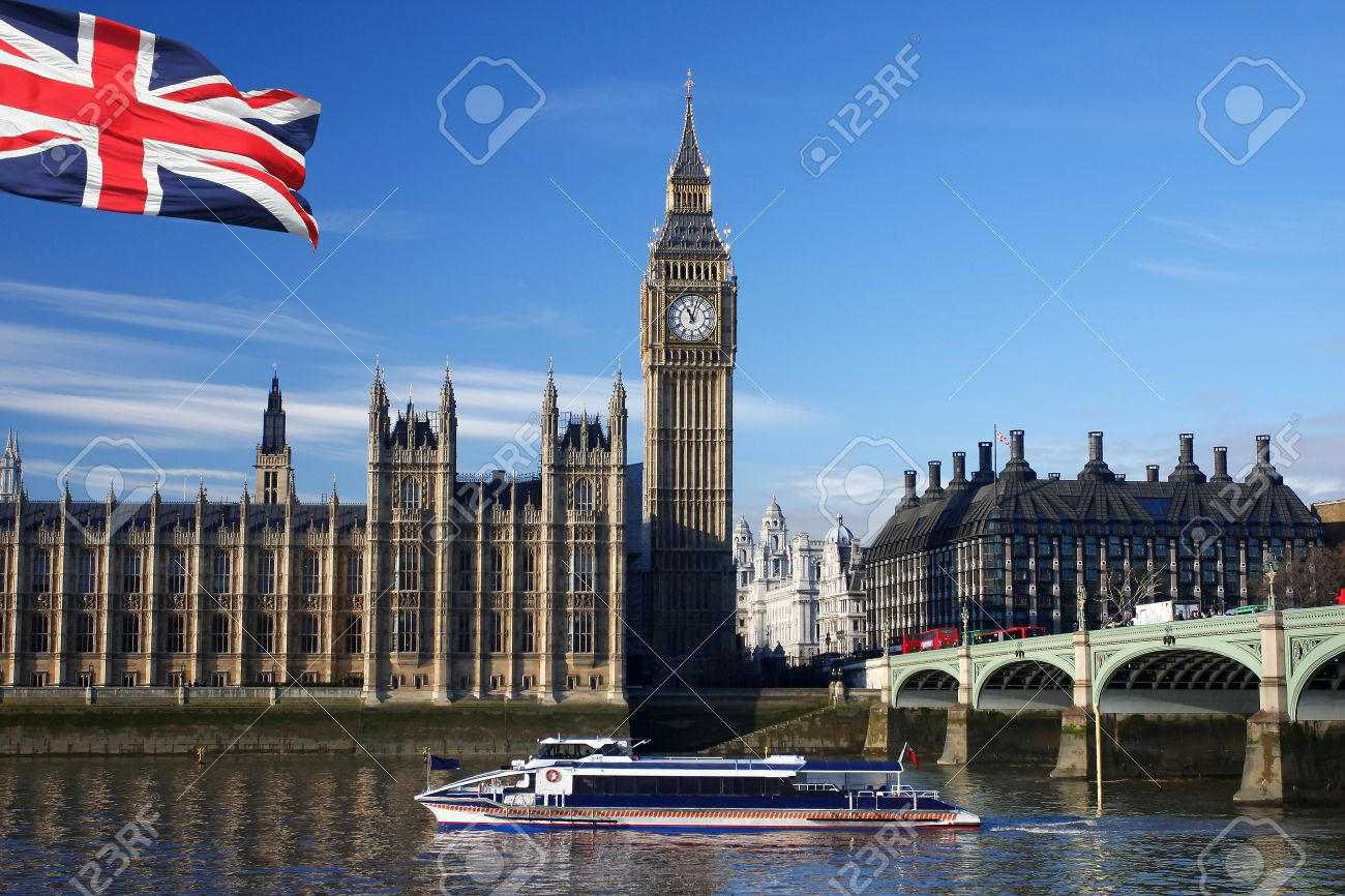 Big Ben with flag and boat, London, UK Stock Photo - 11995948