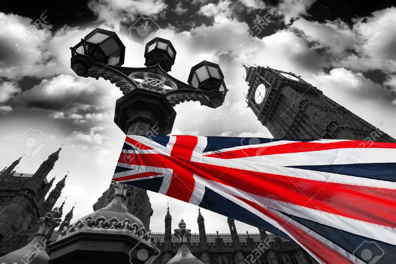 big ben with flag of england london uk stock photo picture and