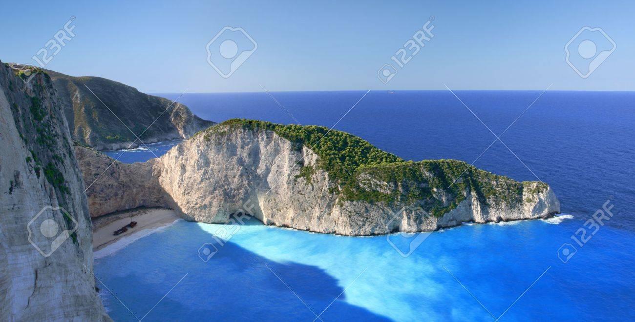 Famous European Beach Navagio in Zakynthos Island, Greece, part of Ionian Islands - 13006471