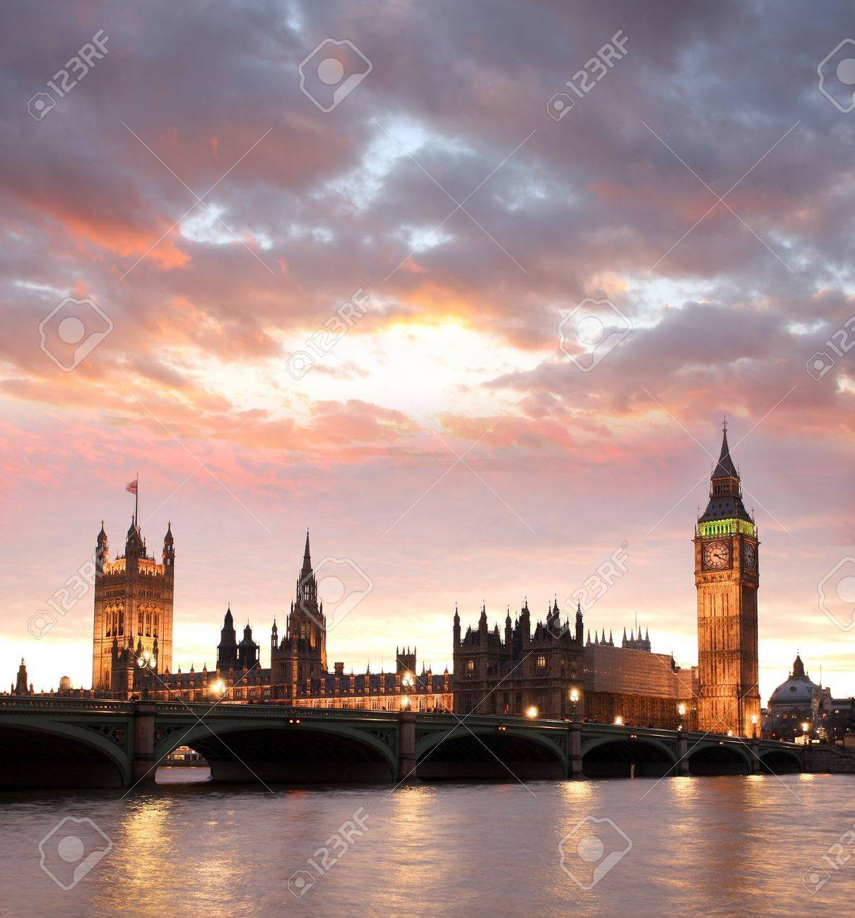 Famous Big Ben in the evening with bridge, London, England Stock Photo - 15389025