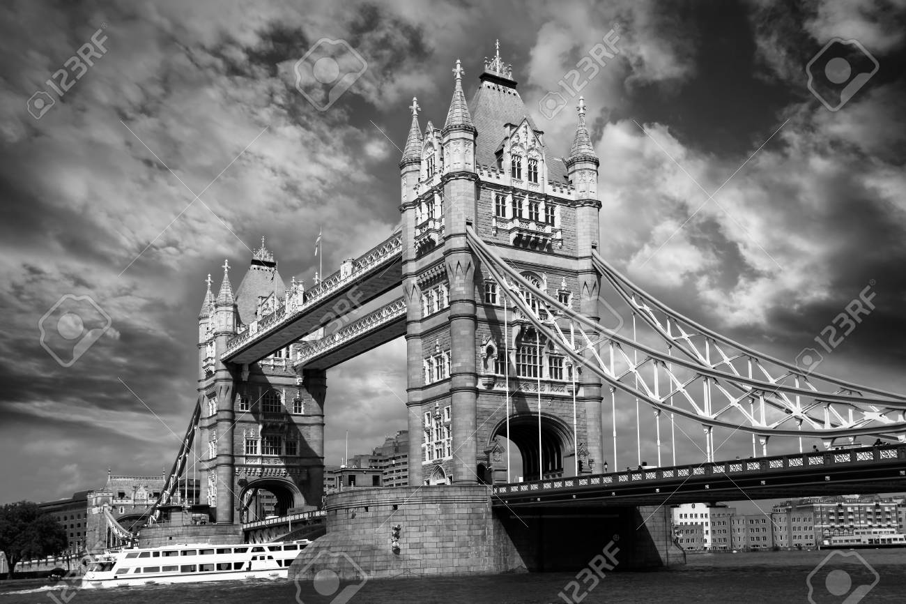 Tower Bridge with boat in London, England Stock Photo - 15380779