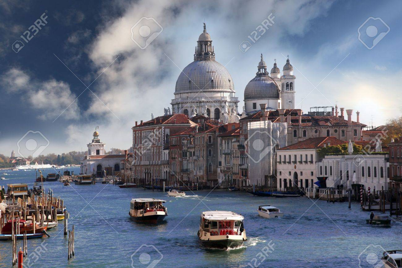 Venice with boats on Grand canal in Italy - 15597570