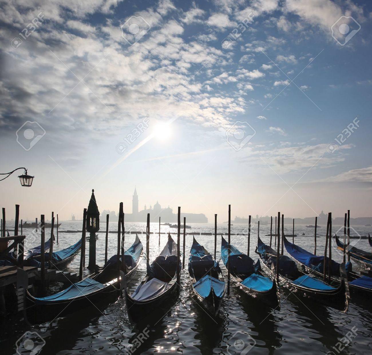 Venice with gondolas on Grand Canal against San Giorgio Maggiore church - 15547894