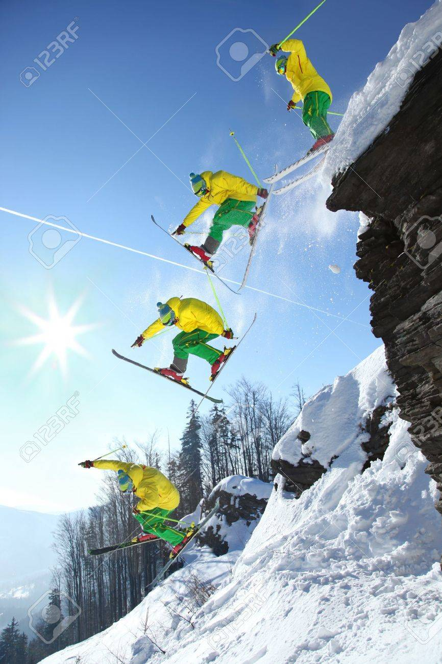 The whole jump of Skier from high rock - 15622100