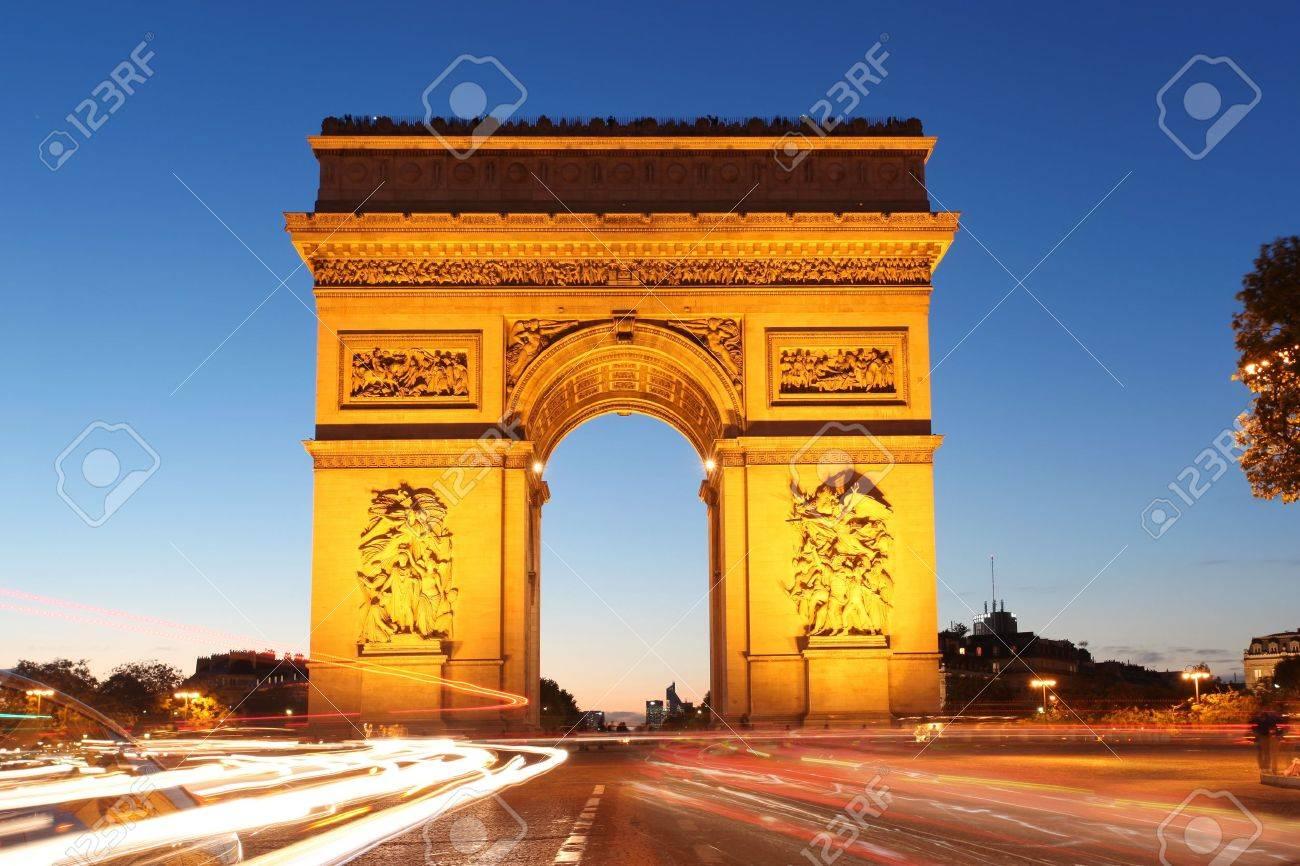 Famous Arc de Triomphe in the evening, Paris, France - 15976506