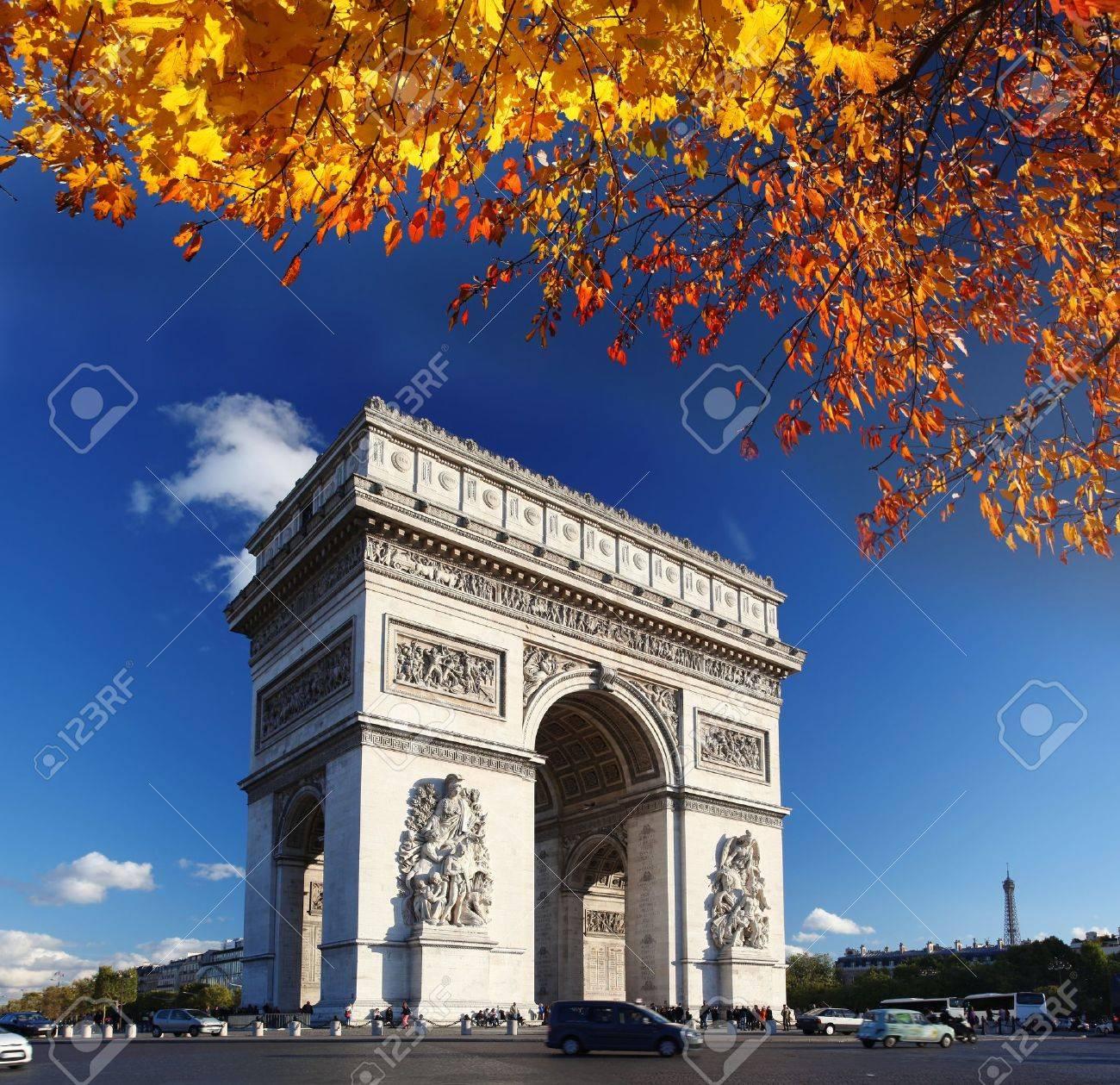 Famous Arc de Triomphe in autumn, Paris, France - 16042889