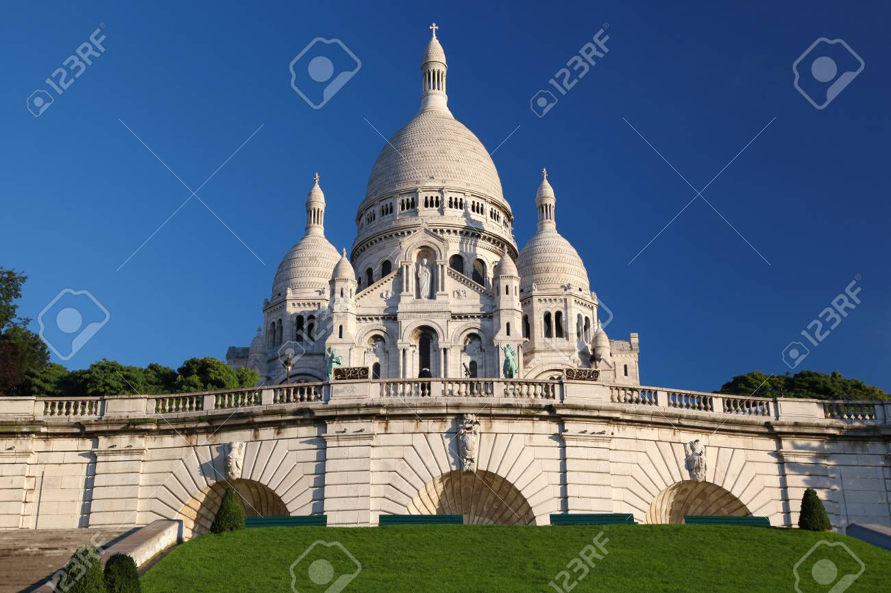 Paris with Basilica of the Sacre Coeur in France Stock Photo - 17213857