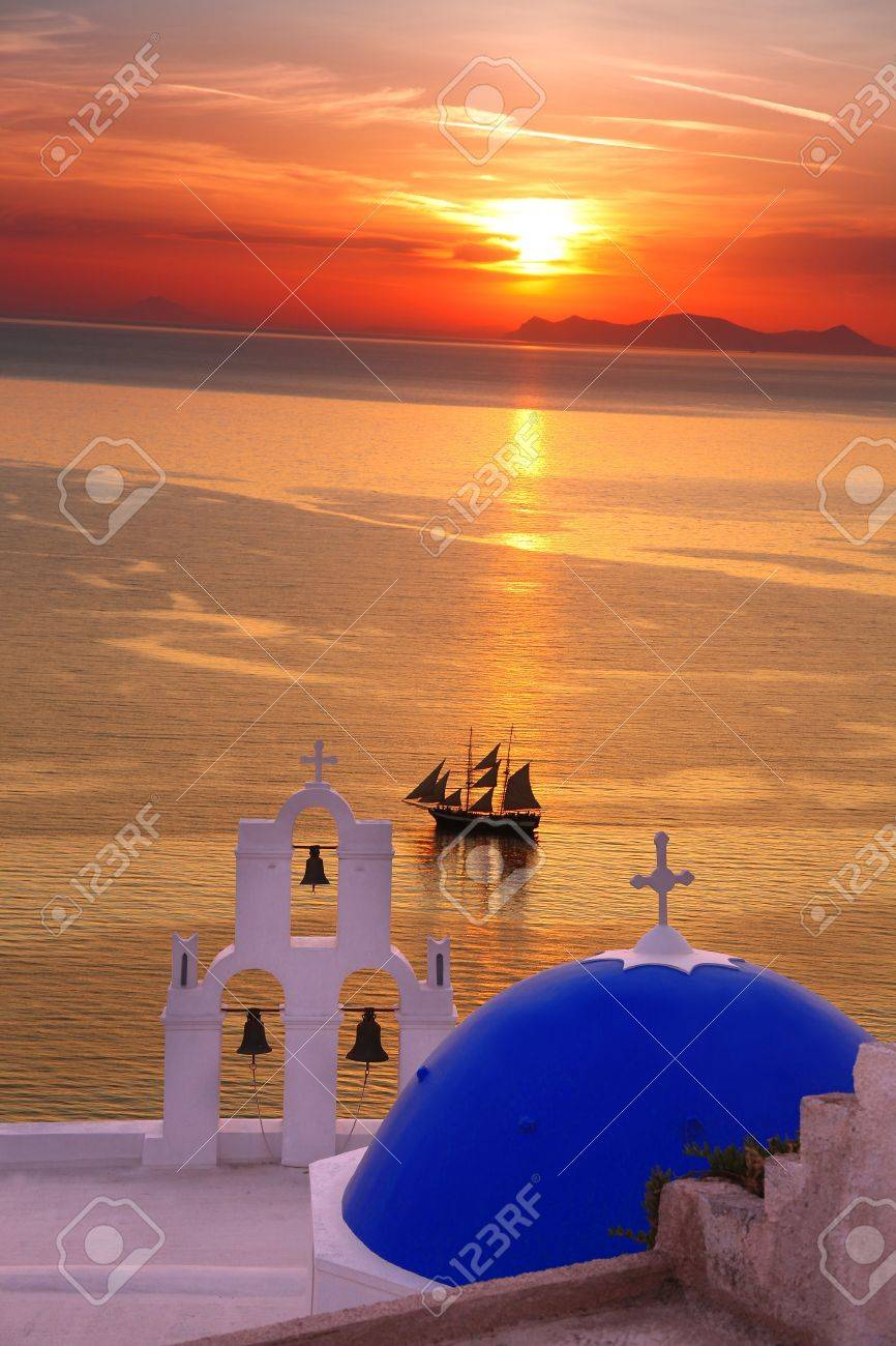 Amazing Santorini with church and sea view in Greece - 17559851