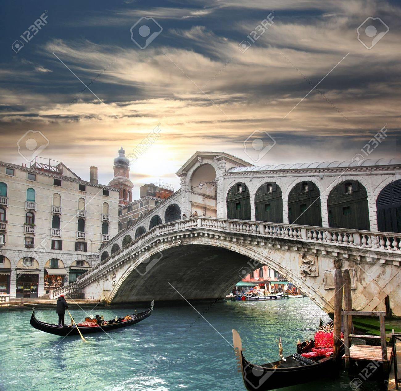 Venice, Rialto bridge and with gondola on Grand Canal, Italy - 18105732