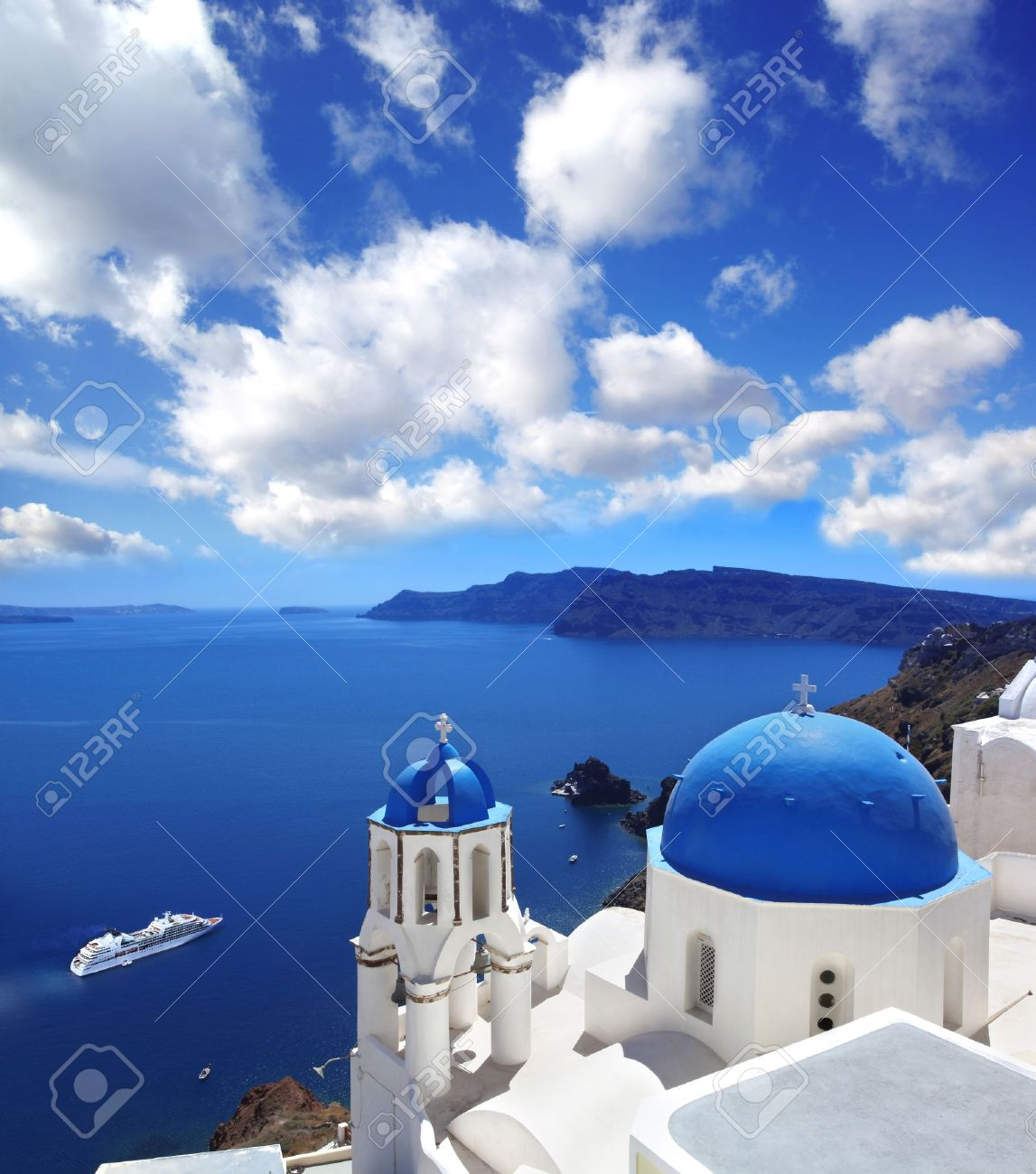 Amazing Santorini with churches and sea view in Greece - 18105725