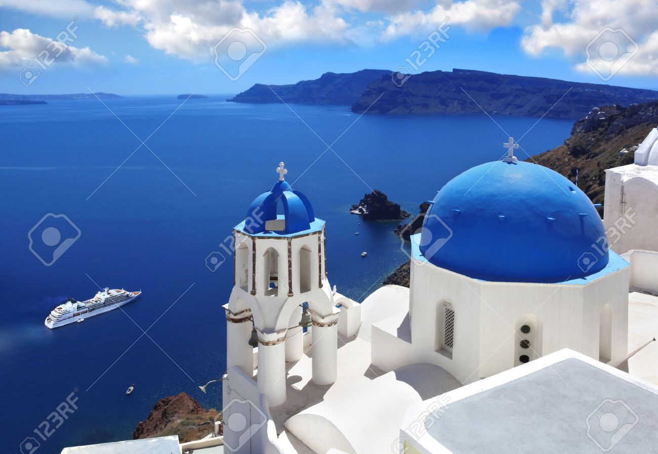 Amazing Santorini with churches and sea view in Greece - 18105715