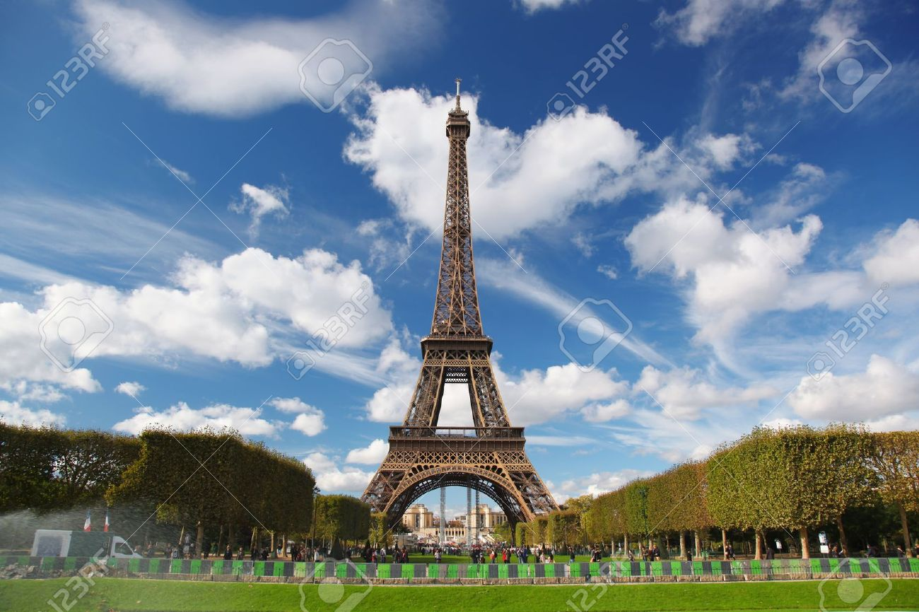 Eiffel Tower with city park in France - 20923654