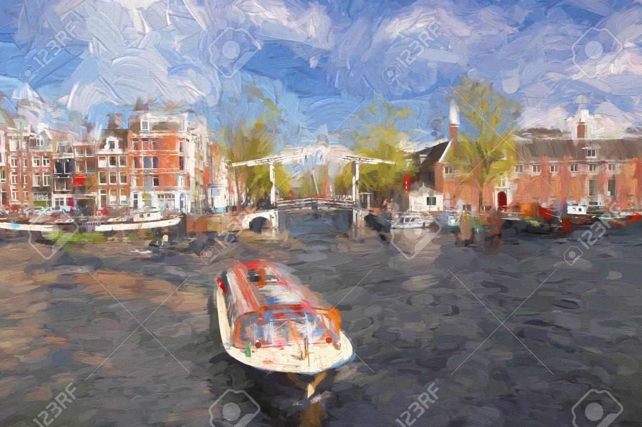 famosa ciudad de amsterdam en holanda en estilo de pintura foto de archivo