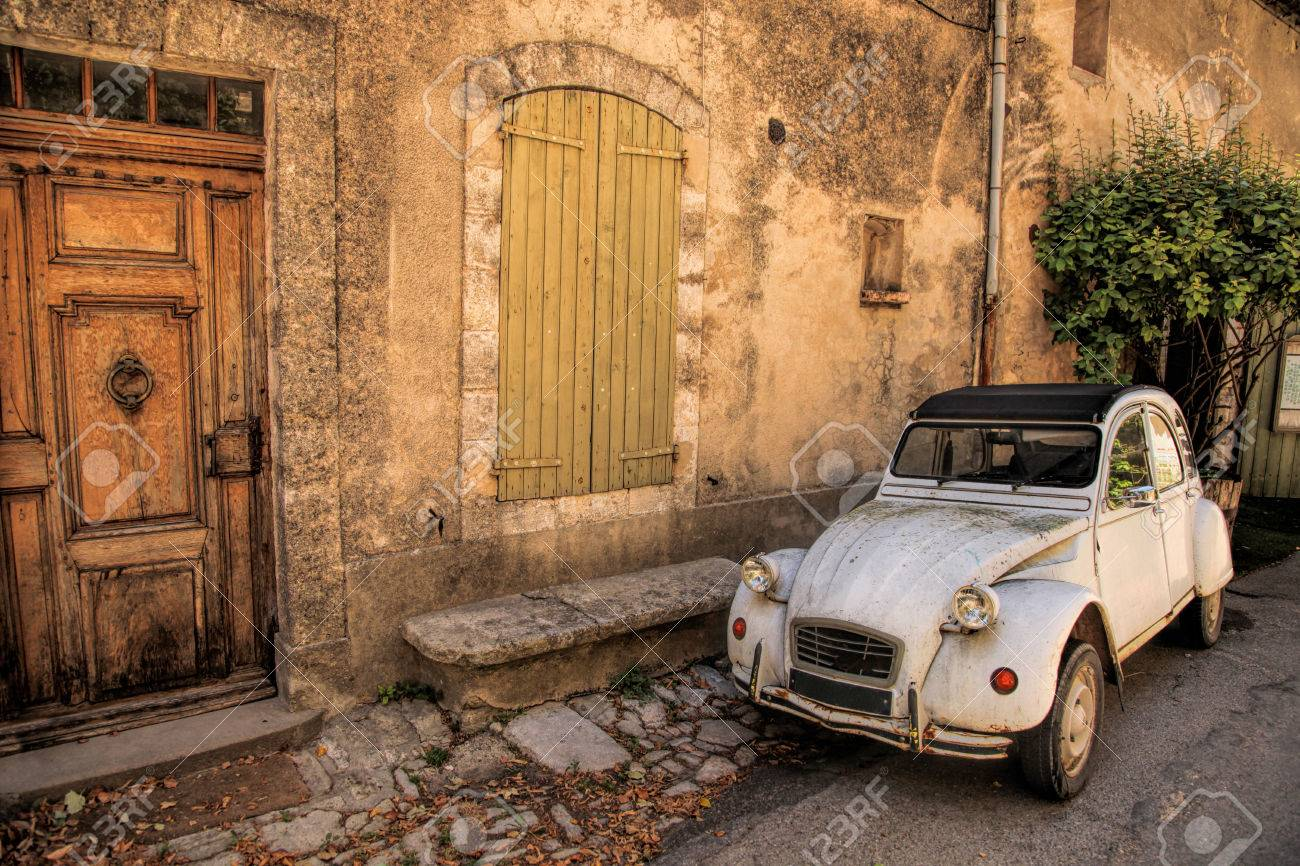 Classic French car on a street in the Provence, France - 60232090