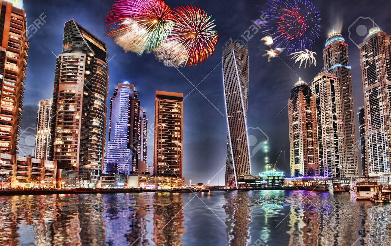 Nachtaufnahme Vereinigte Arabische Emirate Glasbild Dubai