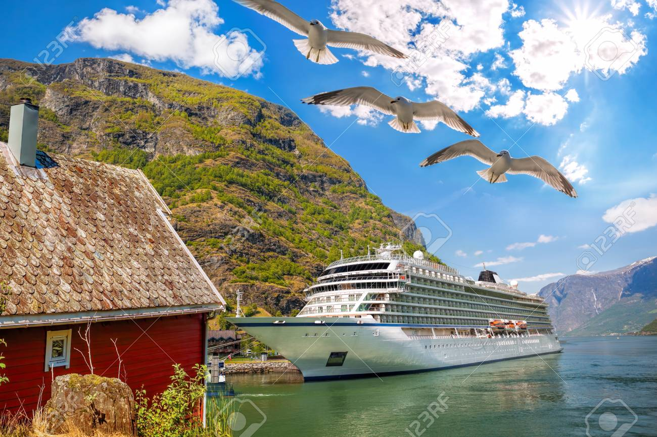 Port Of Flam With Cruise Ship In Norway Stock Photo Picture And - Cruise ship norway